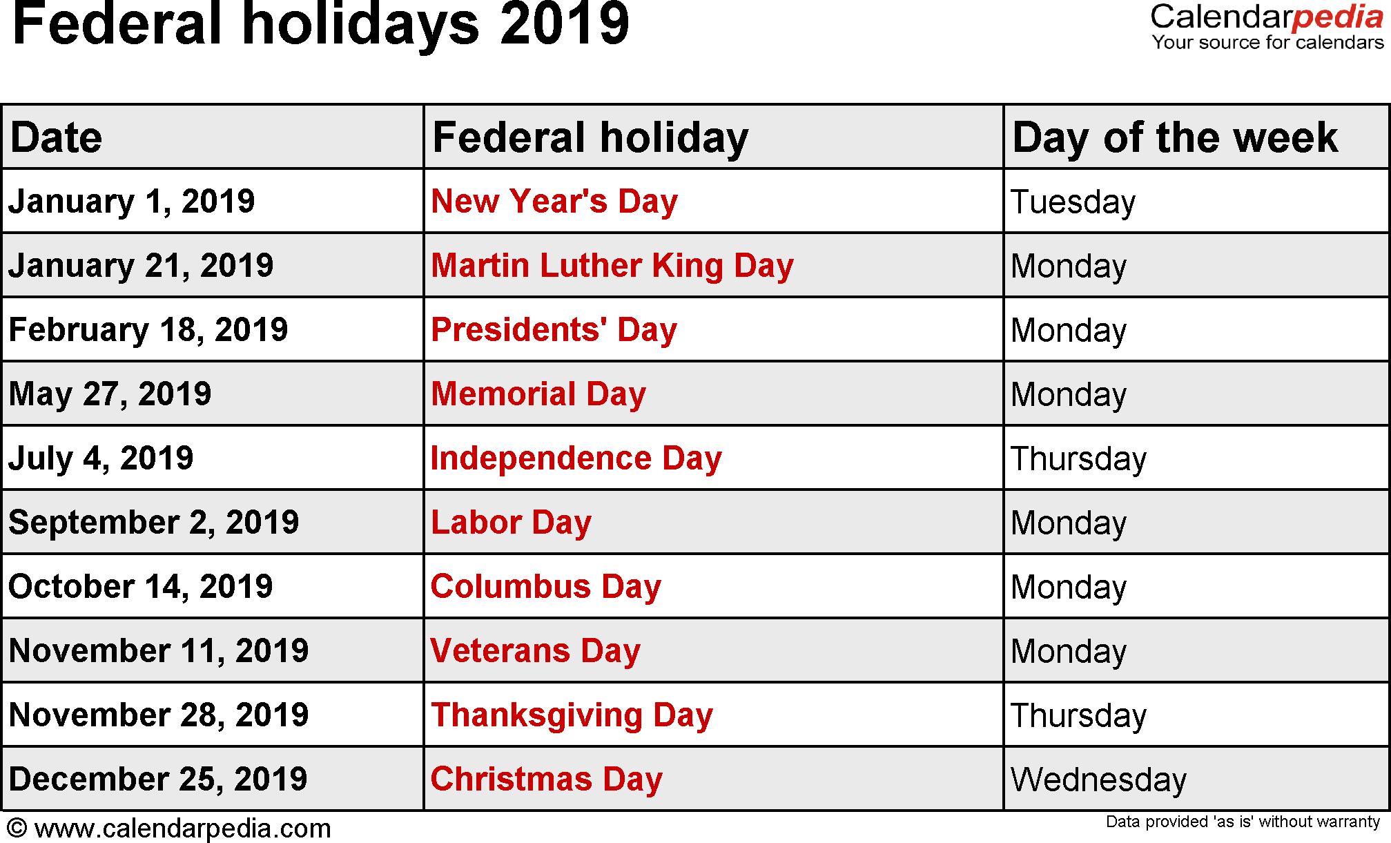 Federal Holidays 2019 for Festive Printable Calendar 2020
