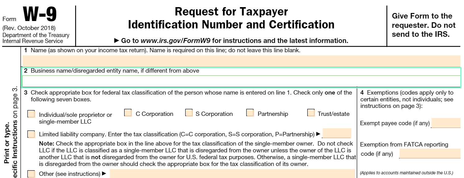 Fillable W-9 Form: Get Free Irs W-9 Template Online (2018 pertaining to W 9 Form 2020 Printable Pdf Irs