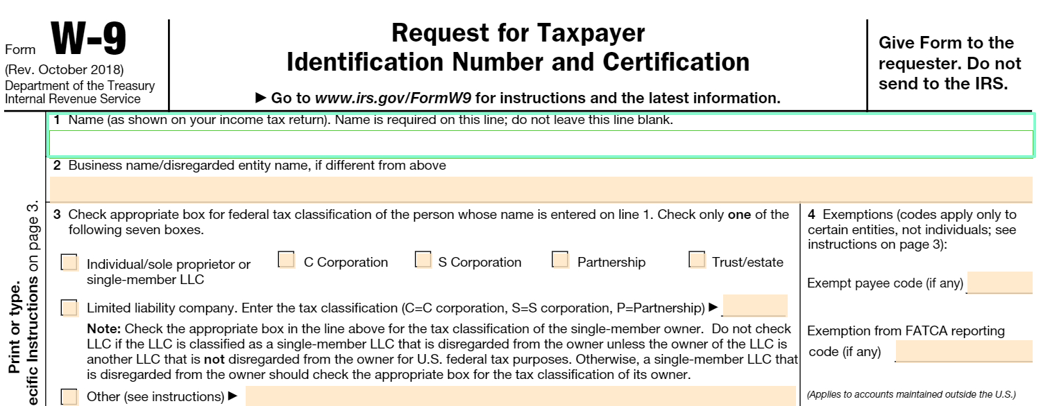 Fillable W-9 Form: Get Free Irs W-9 Template Online (2018 with regard to W-9 Form 2020 Printable