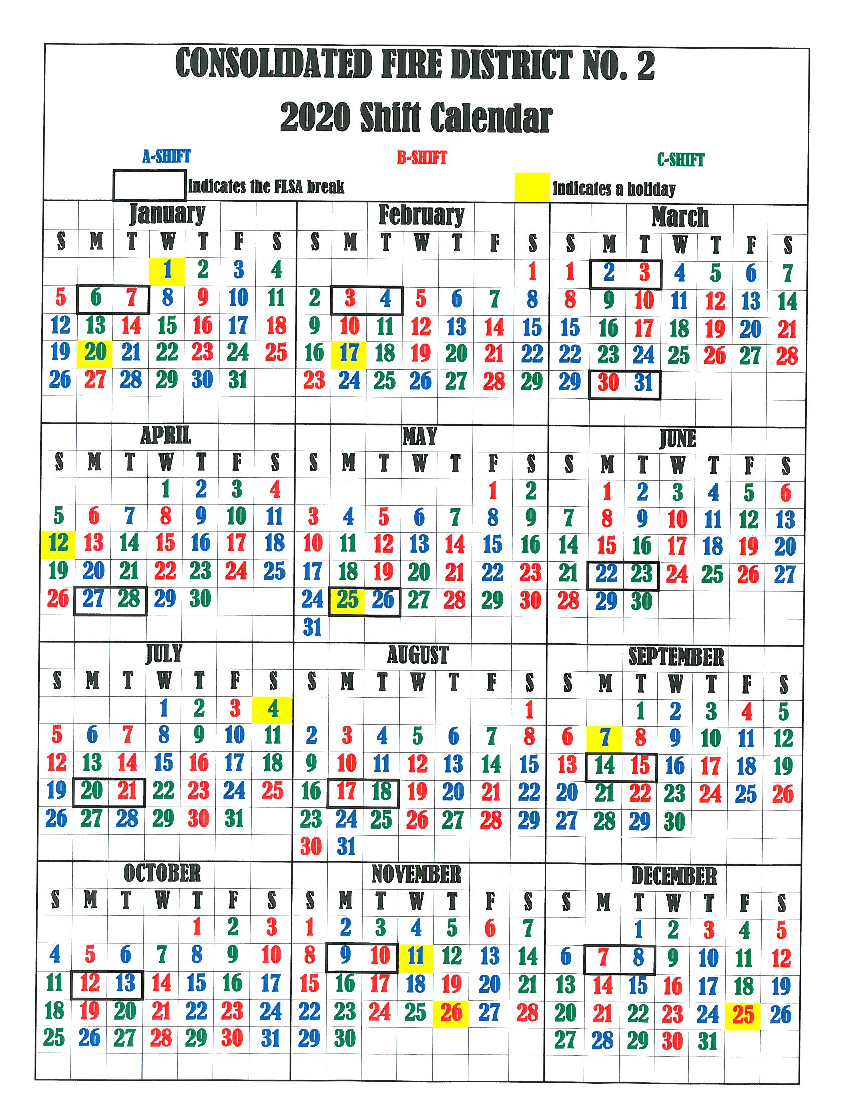 Firefighter Shift Calendar 2020 - Wpa.wpart.co for Printable Firefighter Shift Calendar