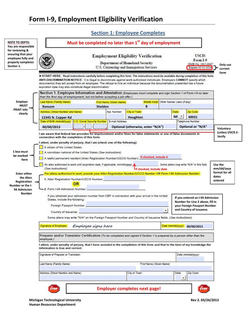 Form I-9, Employment Eligibility Verification Section 1 with Free Printable I9 Forms 2020