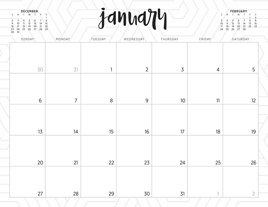 Free 2019 Printable Calendars - 46 Designs To Choose From! for Blank Calendar Pretty