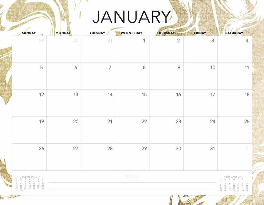 Free 2020 Printable Calendars - 51 Designs To Choose From! in Blank Calendar Pretty