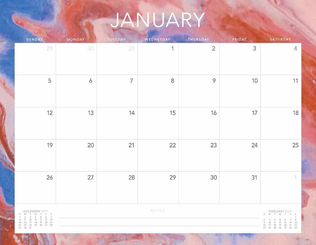 Free 2020 Printable Calendars - 51 Designs To Choose From! in Free Printable 2020 Calendars Large Numbers
