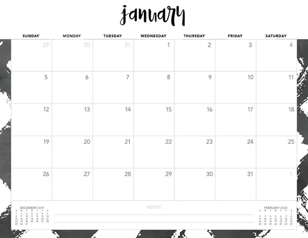 Free 2020 Printable Calendars - 51 Designs To Choose From! with 2020 Printable Calendar - Sunday Thru Saturday