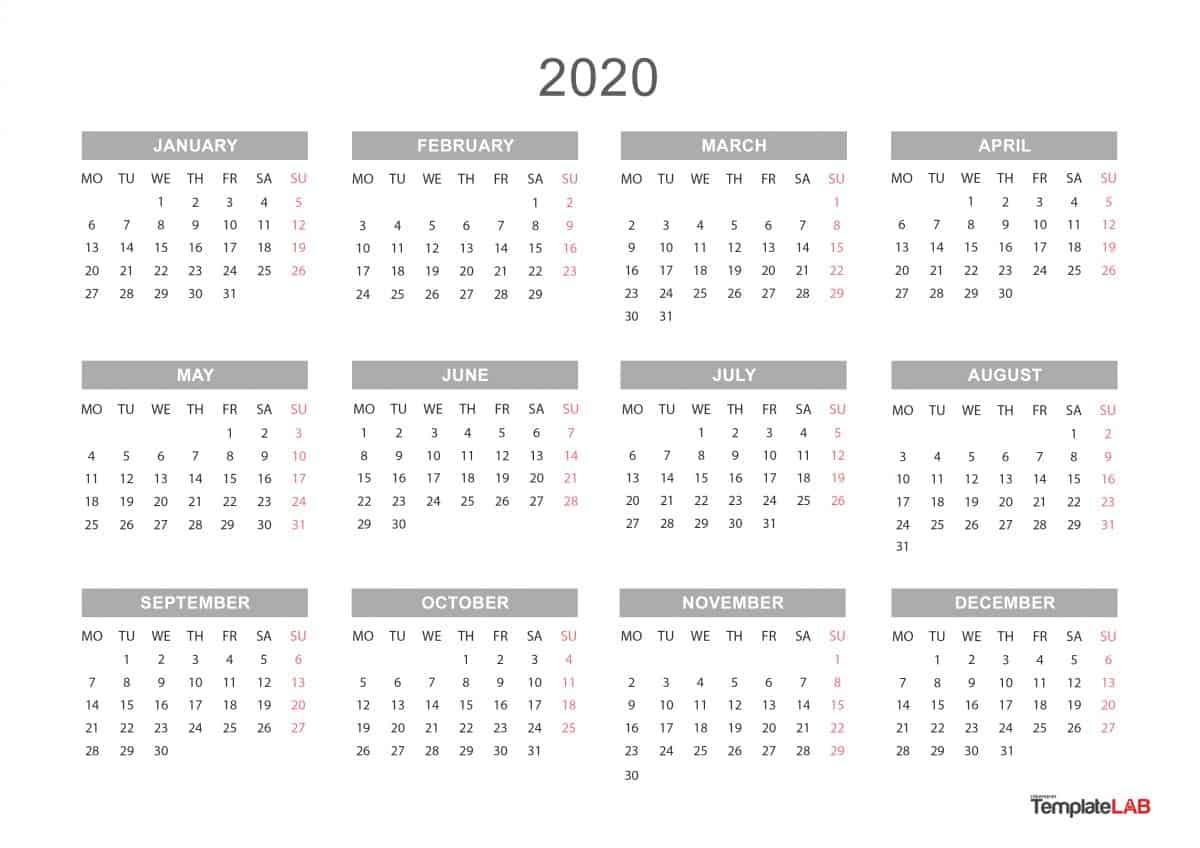 Free 2020 Yearly Calendar - Wpa.wpart.co inside 2020 Calendar Free