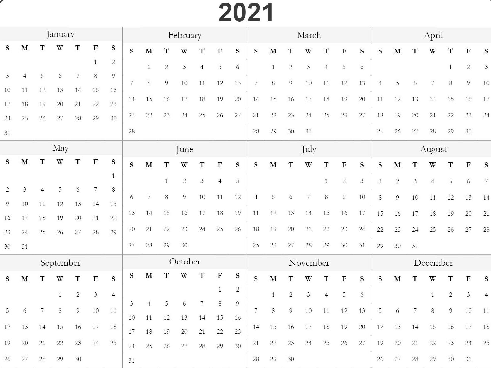 Free 2021 Printable Monthly Calendar With Holidays Word Pdf throughout 2021 Printable Calendar Free