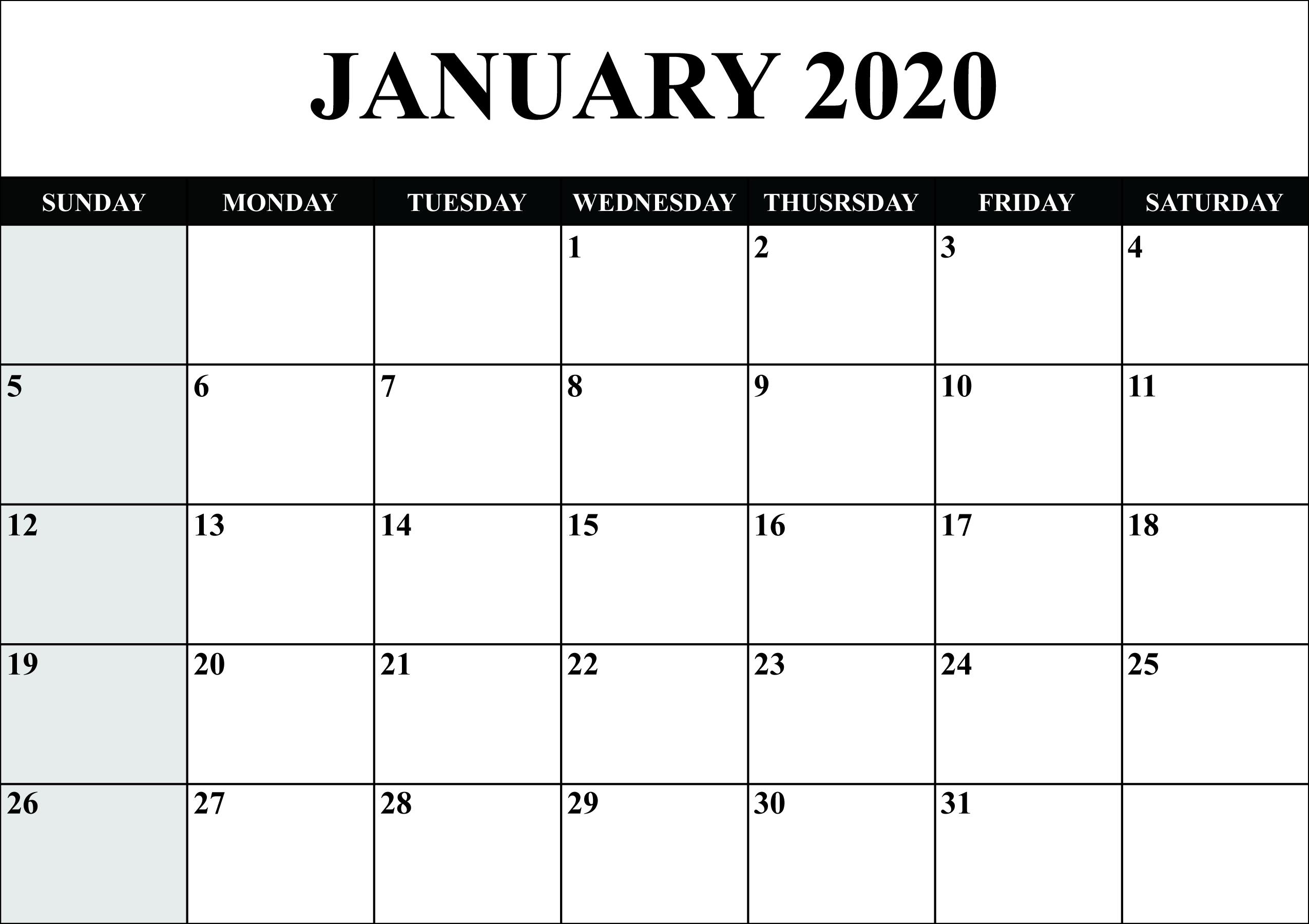 Free Blank January 2020 Calendar Printable In Pdf, Word throughout 2020 Printable Monthly Calendar Free Vertex