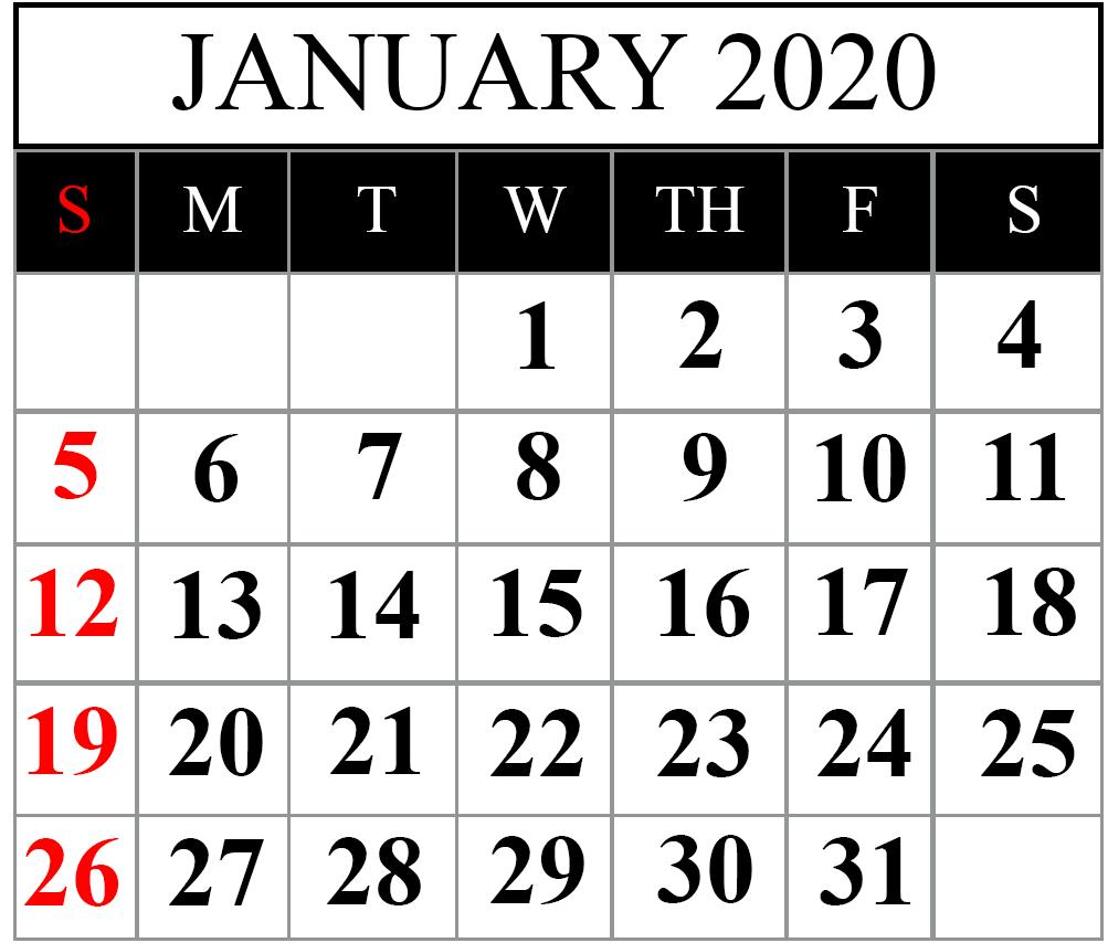Free Blank January 2020 Calendar Printable In Pdf, Word throughout Vertex Calendars 2020 Printable