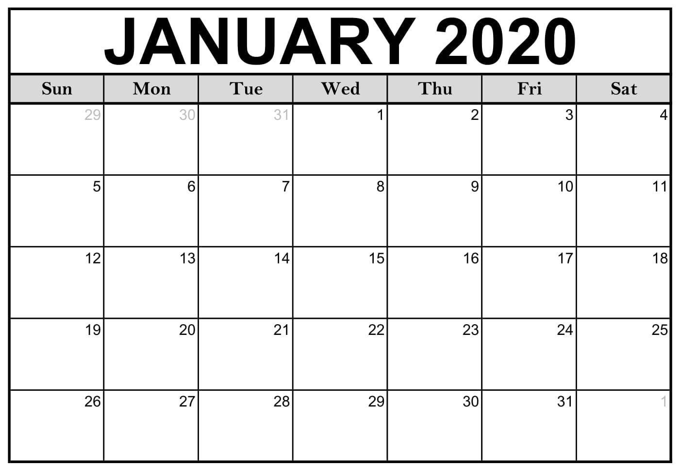 Free Blank January 2020 Calendar Printable Templates for 2020 Monthly Fill In Calendars