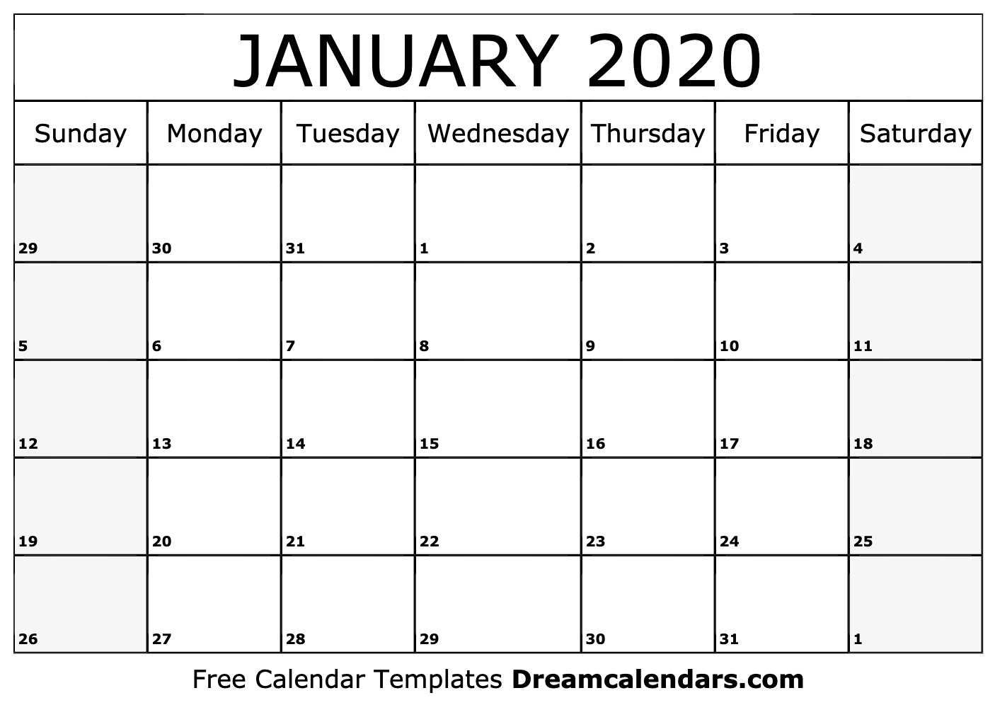 Free Blank January 2020 Printable Calendar regarding October To December 2020 Calendar