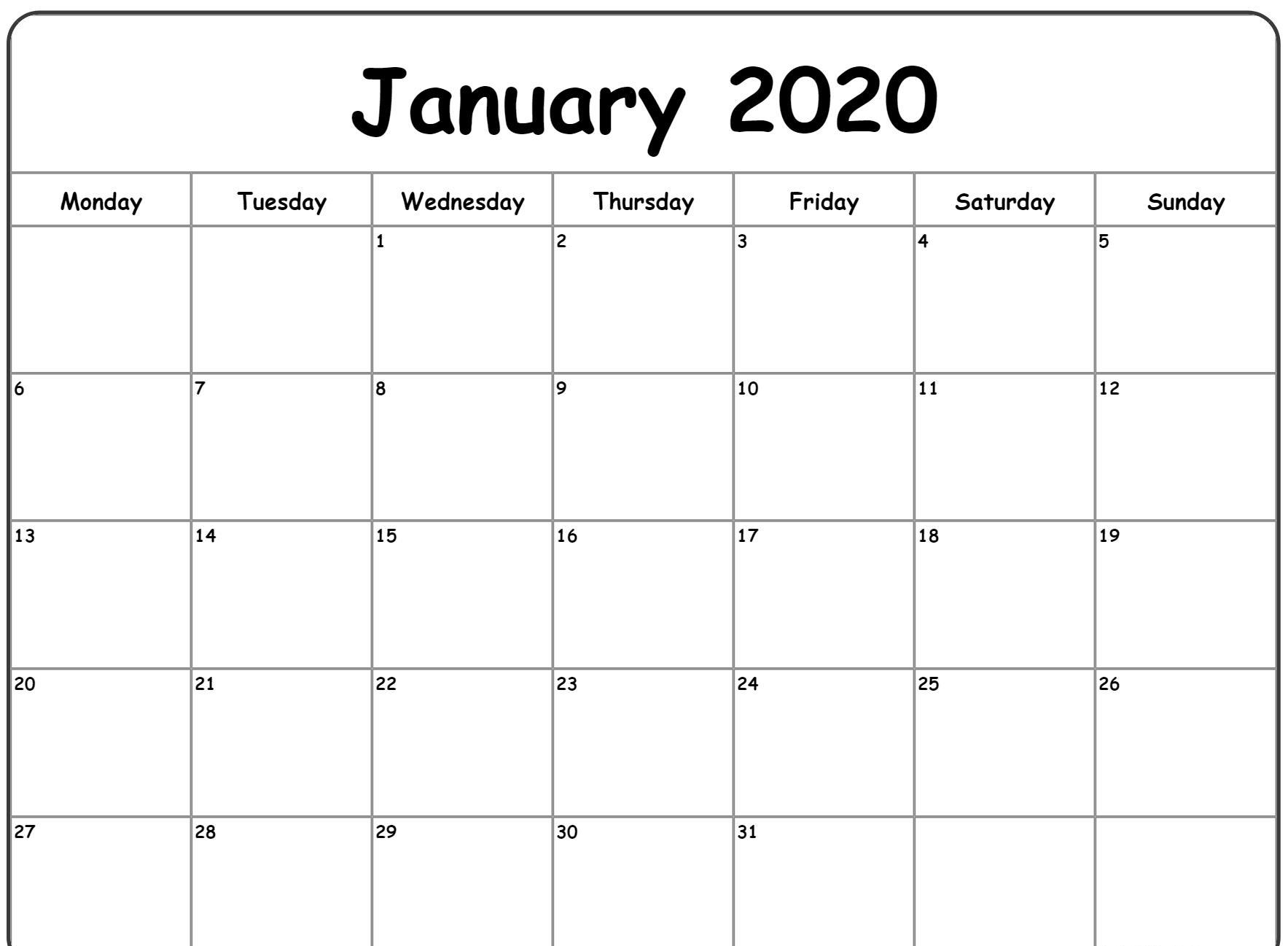 Free Blank January Calendar 2020 Printable Template in Vertex 2020 Calendars Monday Through Sunday
