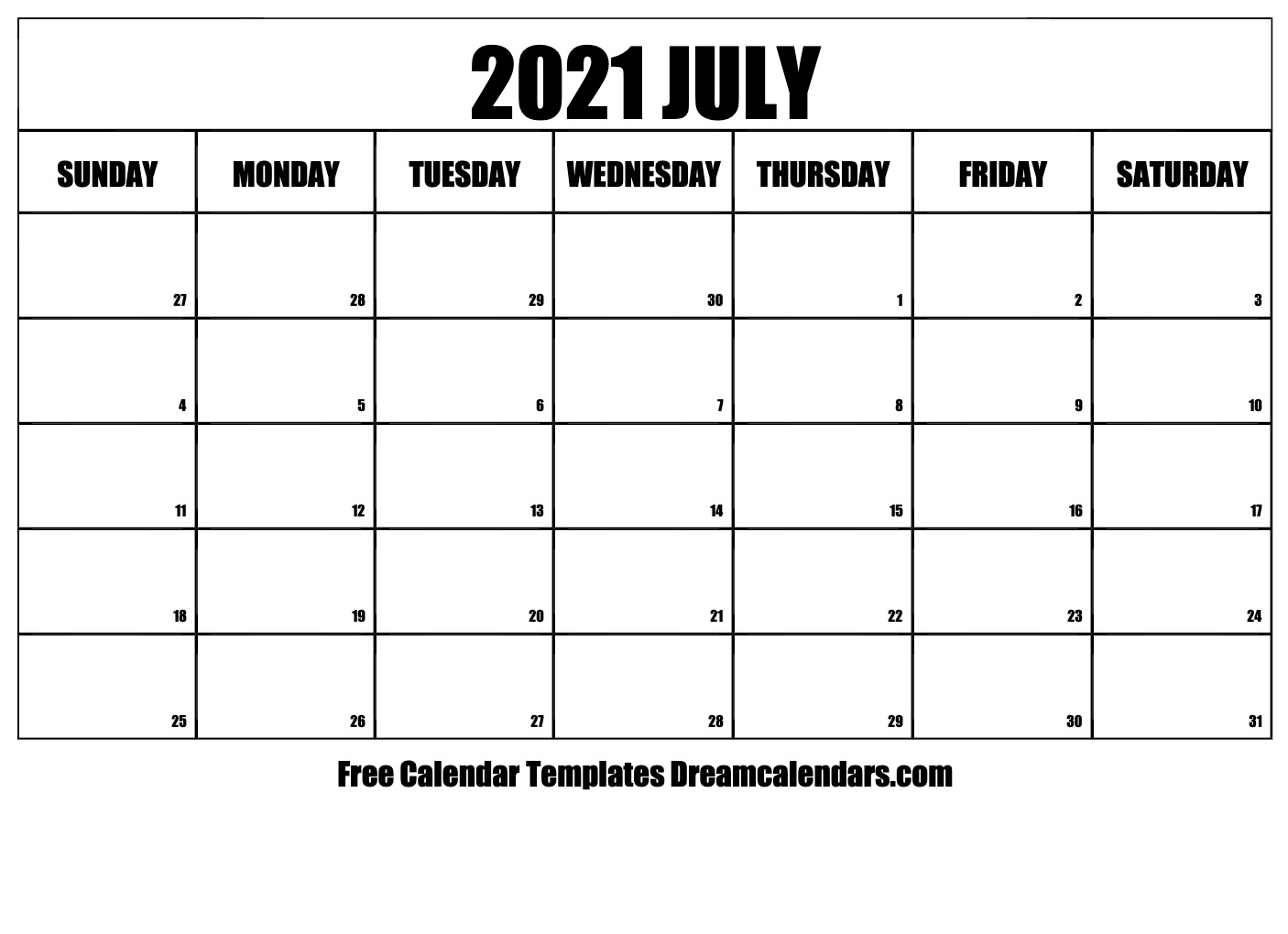 Free Blank July 2021 Printable Calendar in 2021 Printable Calendar Free