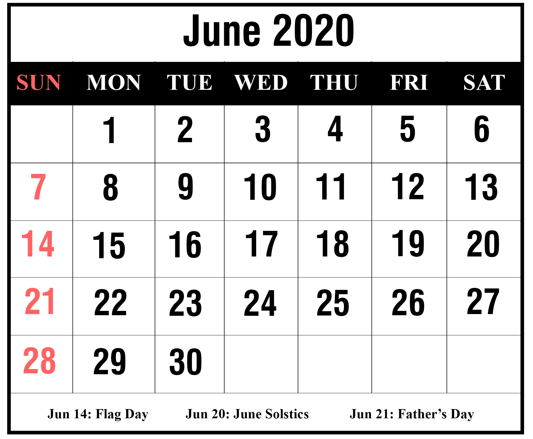 Free Blank June 2020 Printable Calendar With Holidays [Pdf throughout Large Numbers Free Printable Calendar 2020