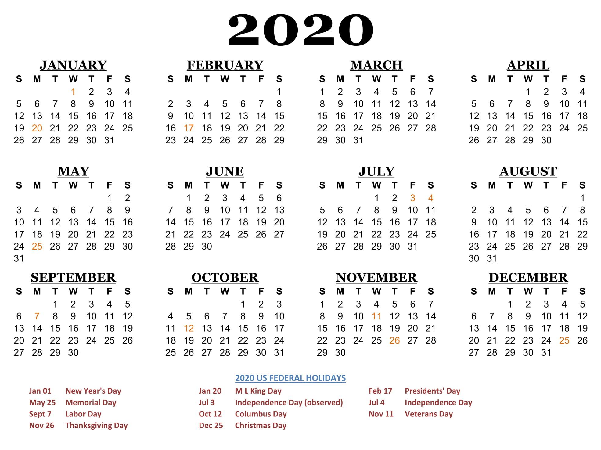 Free Calendar 2020 Printable Yearly | 12 Month Printable intended for Yearly Printable Calendar 2020