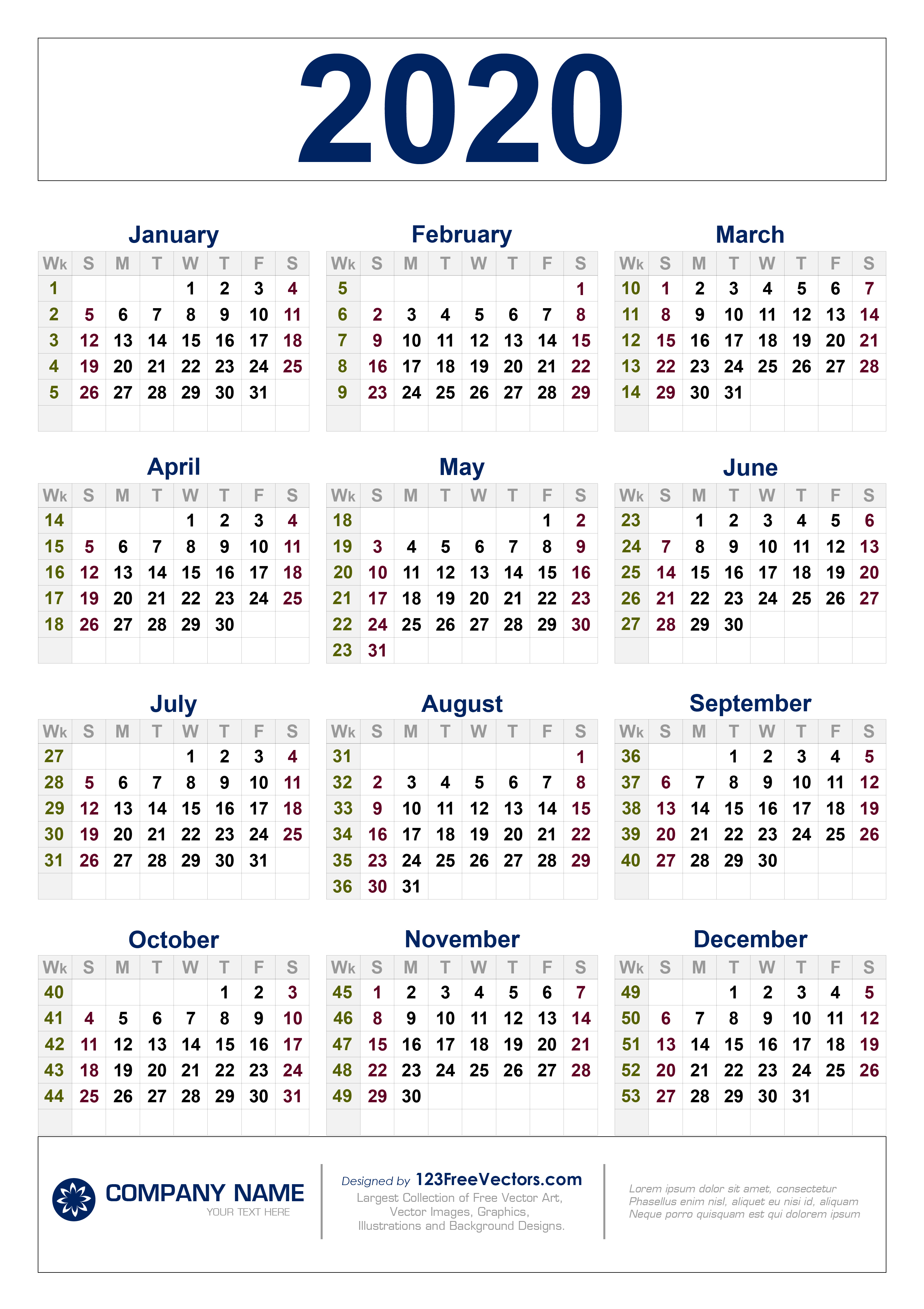 Free Download 2020 Calendar With Week Numbers pertaining to 2020 Calendar Free