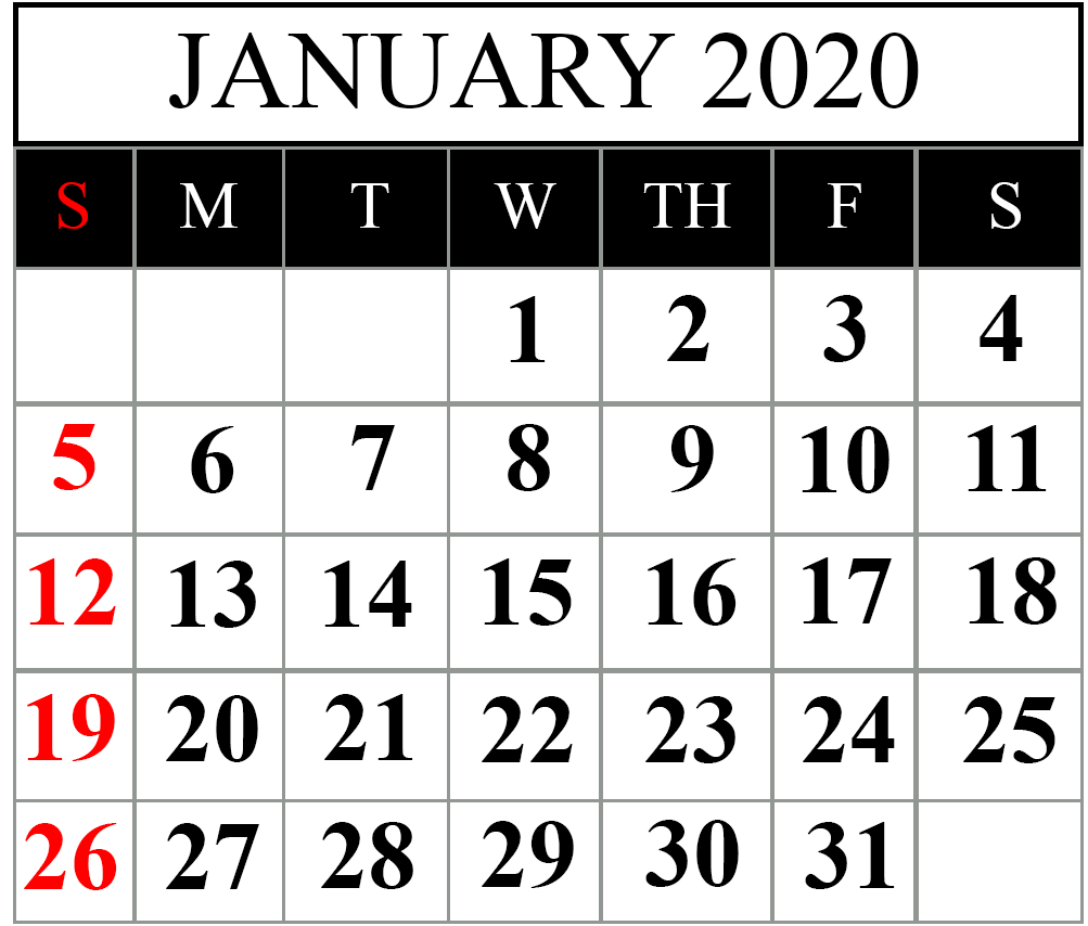 Free January 2020 Printable Calendar Blank In Pdf, Excel regarding 2020 Sri Lanka Calendar
