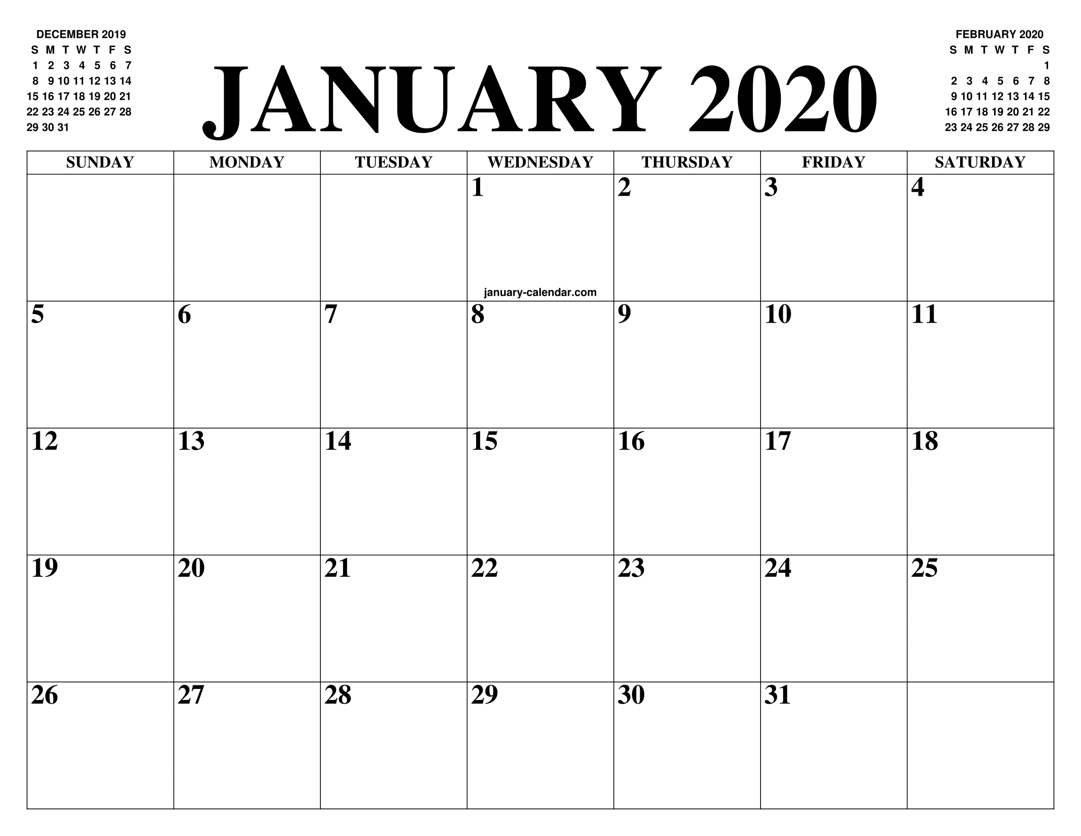 Free January Calendar 2020 Printable Template Blank In Pdf for 2020 December Calendar 8 X11 Printable