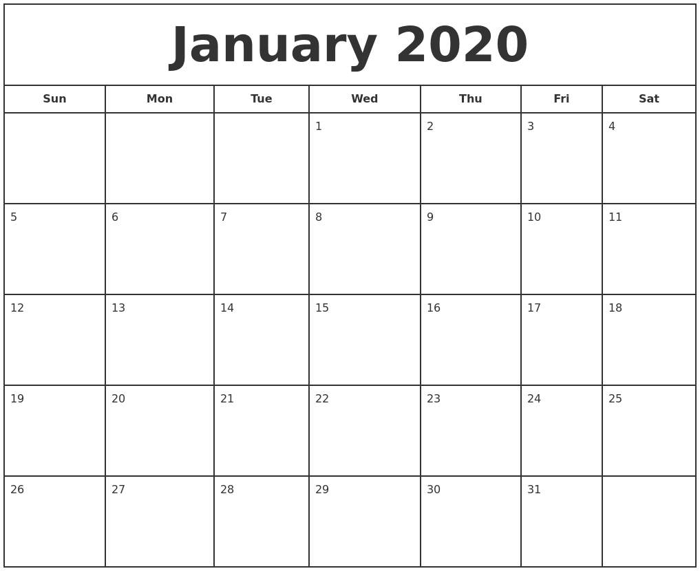 Free January Calendar 2020 Printable Template Blank In Pdf for Vertex Calendars 2020 Printable