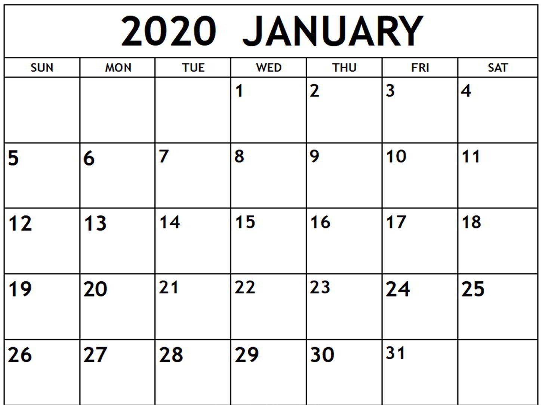 Free January Calendar 2020 Printable Template Blank In Pdf inside 2020 Calendar Free