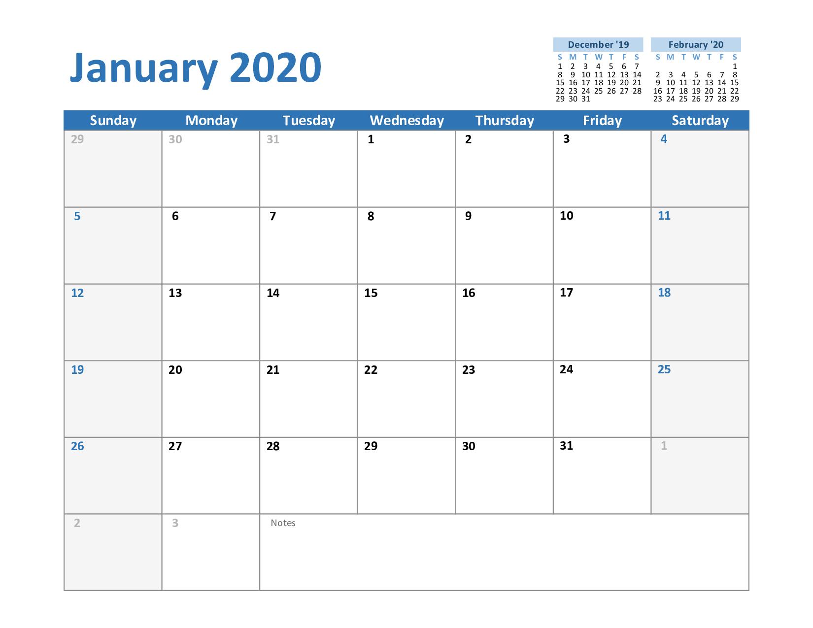 Free January Calendar 2020 Printable Template Blank In Pdf inside 2020 Printable Monthly Calendar Free Vertex