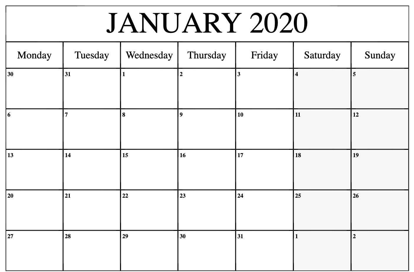 Free January Calendar 2020 Printable Template Blank In Pdf pertaining to 2020 December Calendar 8 X11 Printable