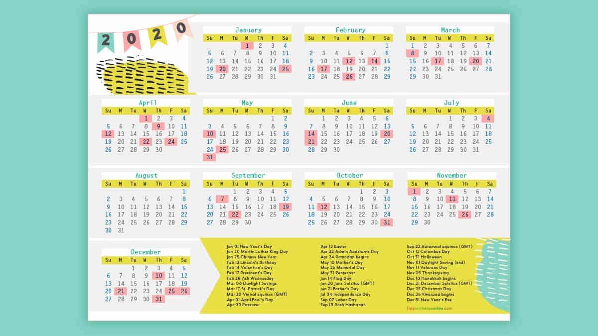 Free Printable 2020 Calendar With Holidays - Free Printables with 2020 Calendar With Holidays