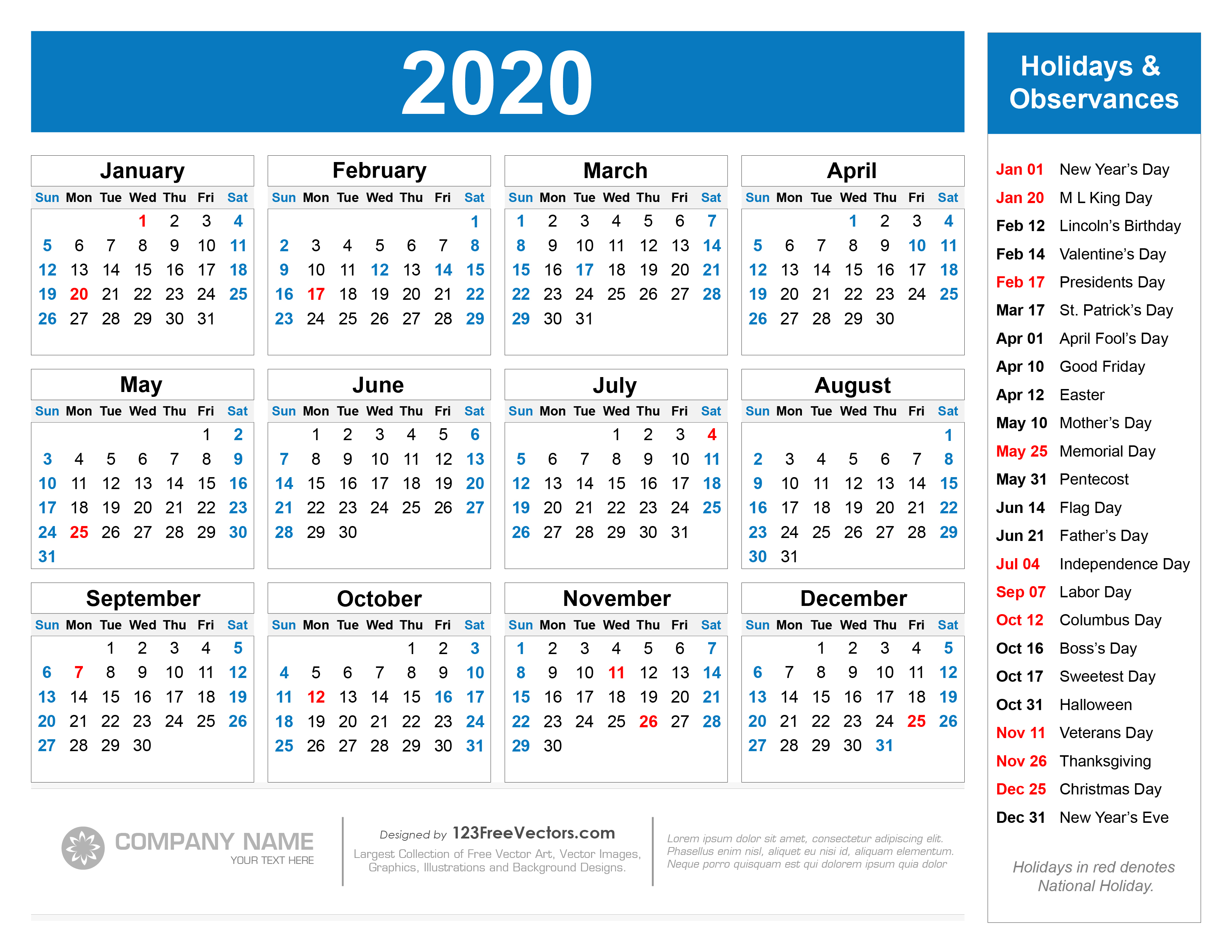 Free Printable 2020 Calendar With Holidays inside 2020 Yearly Calendar With Holidays Printable