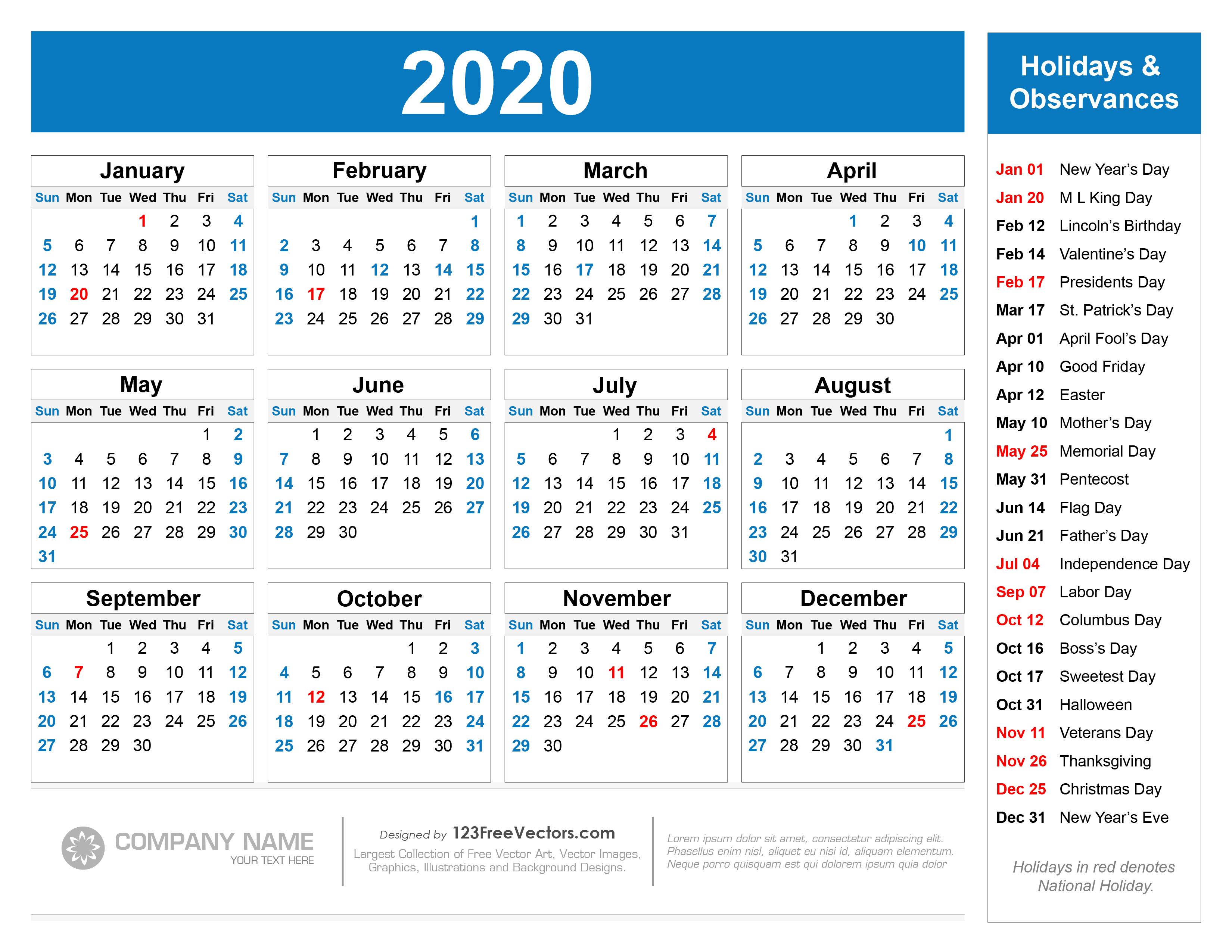 Free Printable 2020 Calendar With Holidays throughout 2020 Calendar With Holidays Printable Free