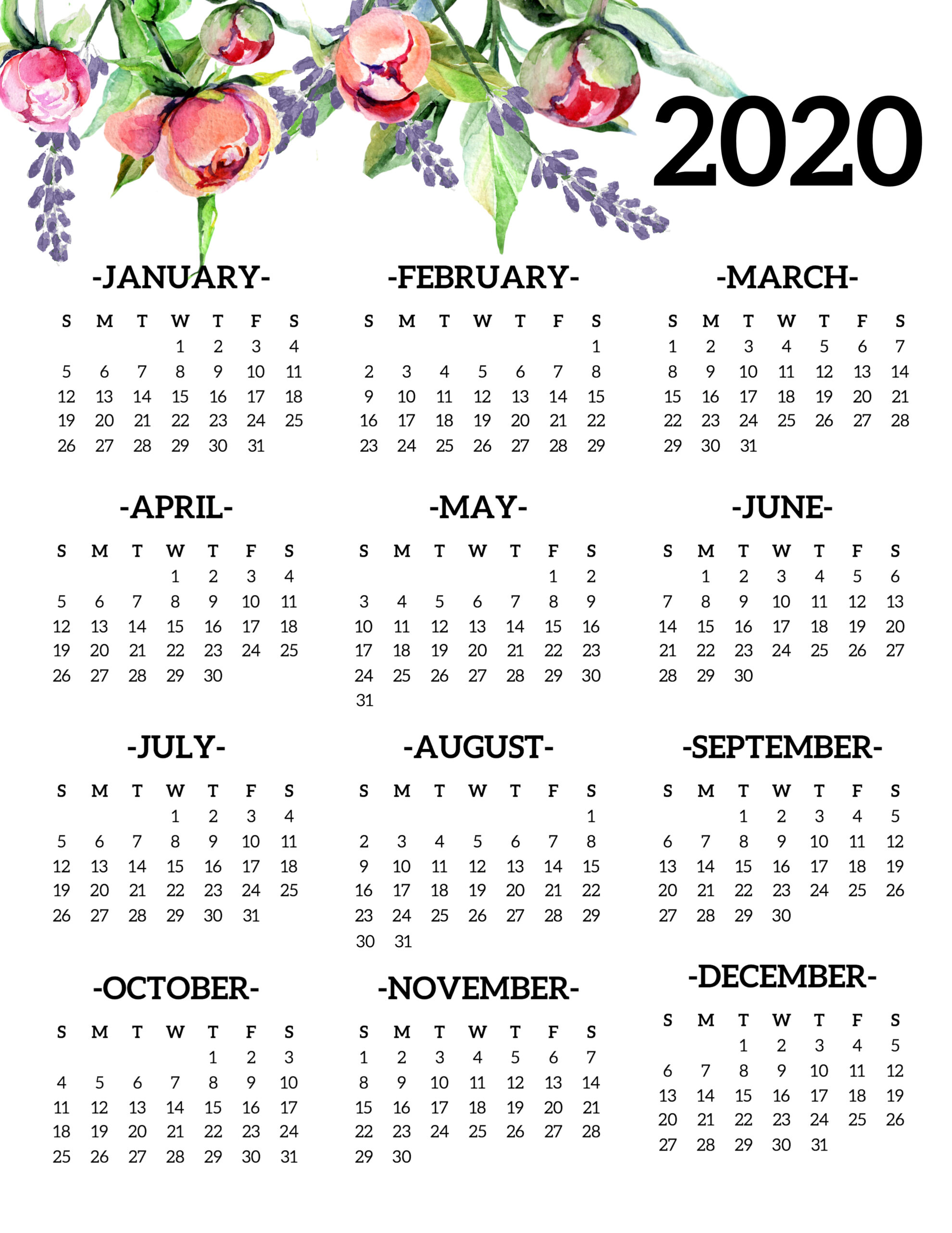 Free Printable 2020 Calendar Yearly One Page Floral - Paper in Yearly Printable Calendar 2020