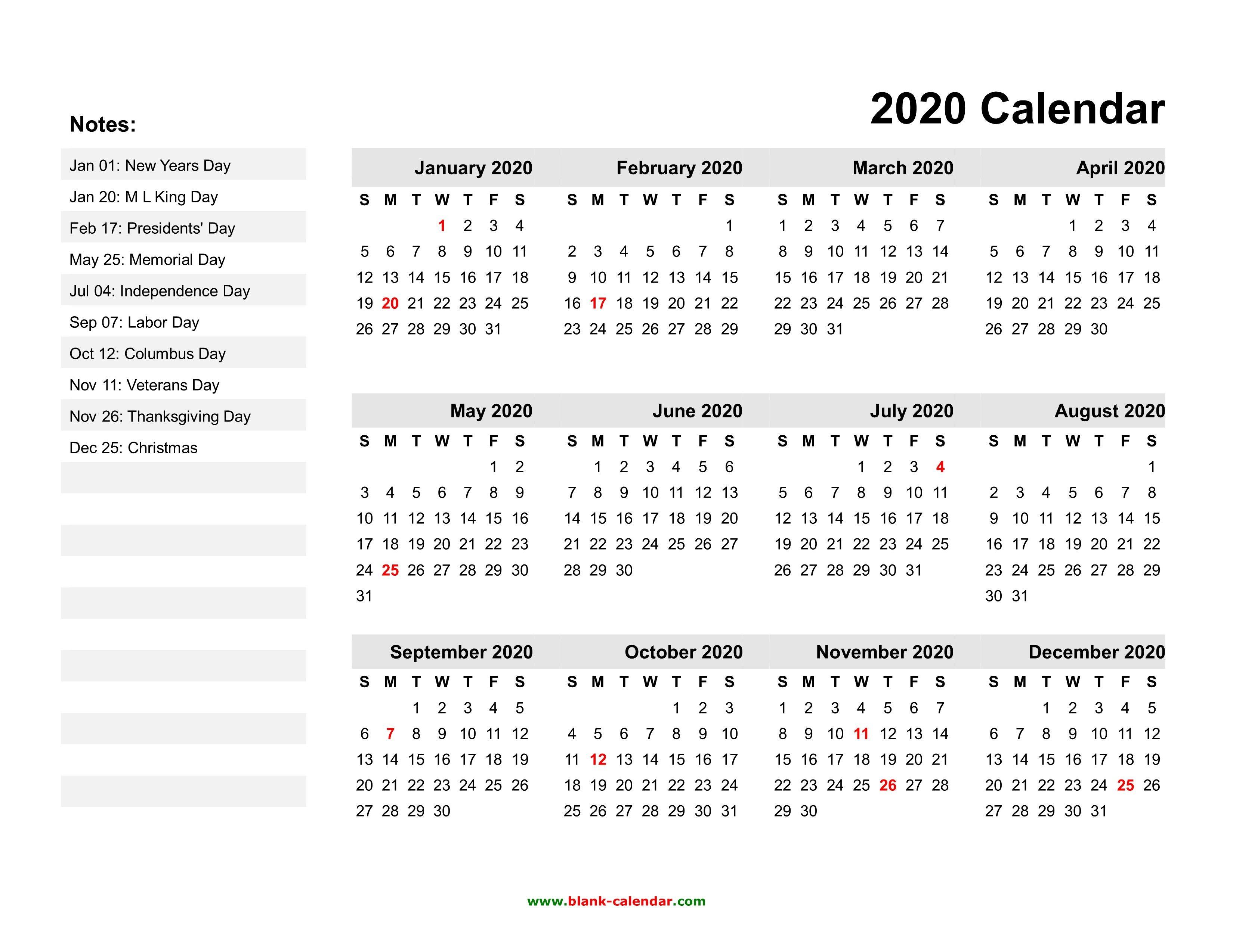 Free Printable 2020 Calendars With Holidays – Pleasant To My with 2020 Calendar With Holidays Printable Free
