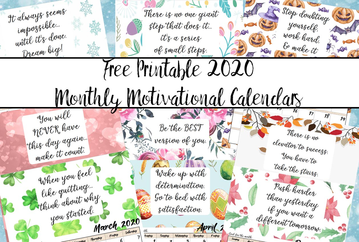 Free Printable 2020 Monthly Motivational Calendars in Small Monthly Calendar Printable 2020 October