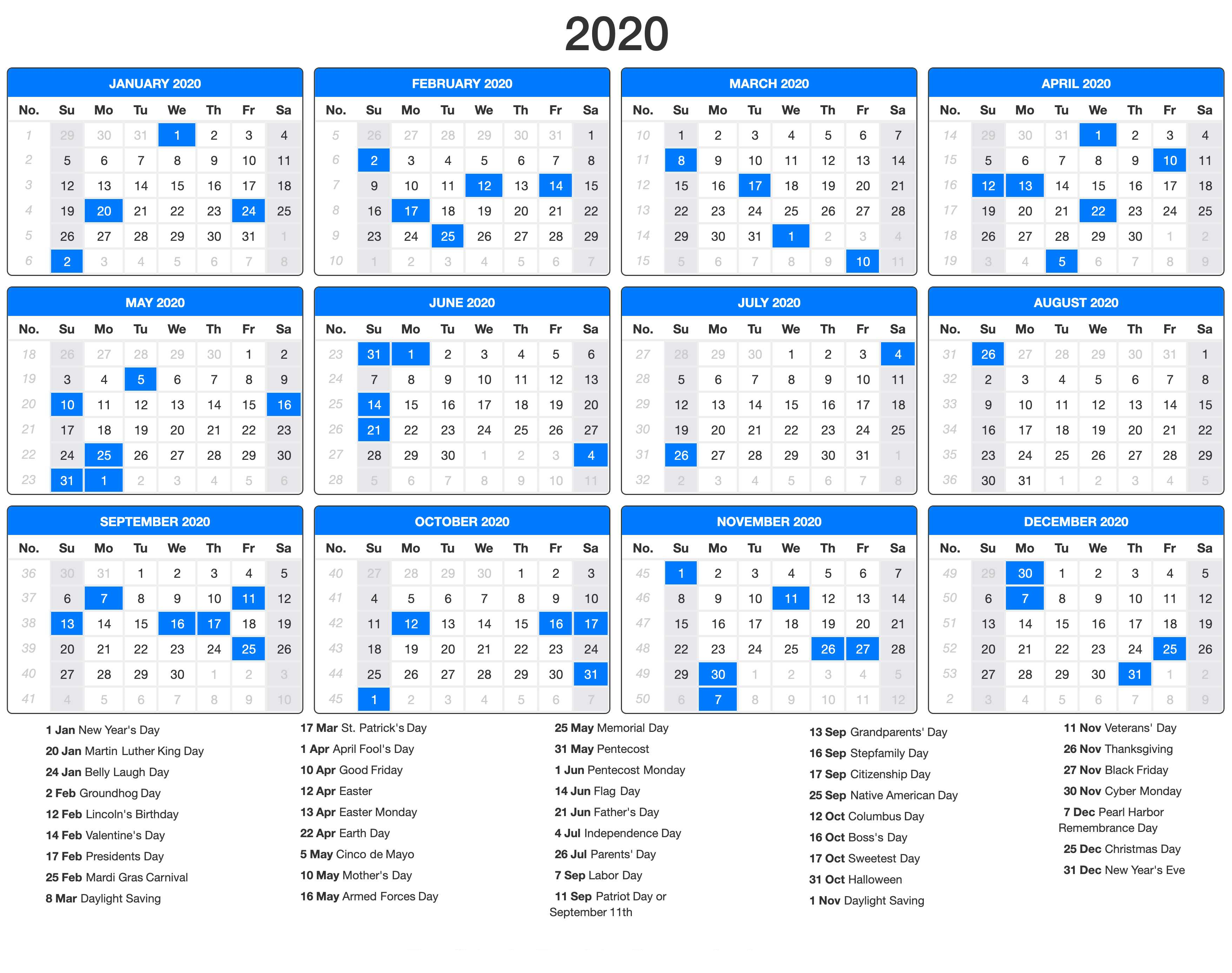 Free Printable Calendar 2020 With Holidays | 12 Month throughout Calendar At A Glance With Usa Holidays For 2020