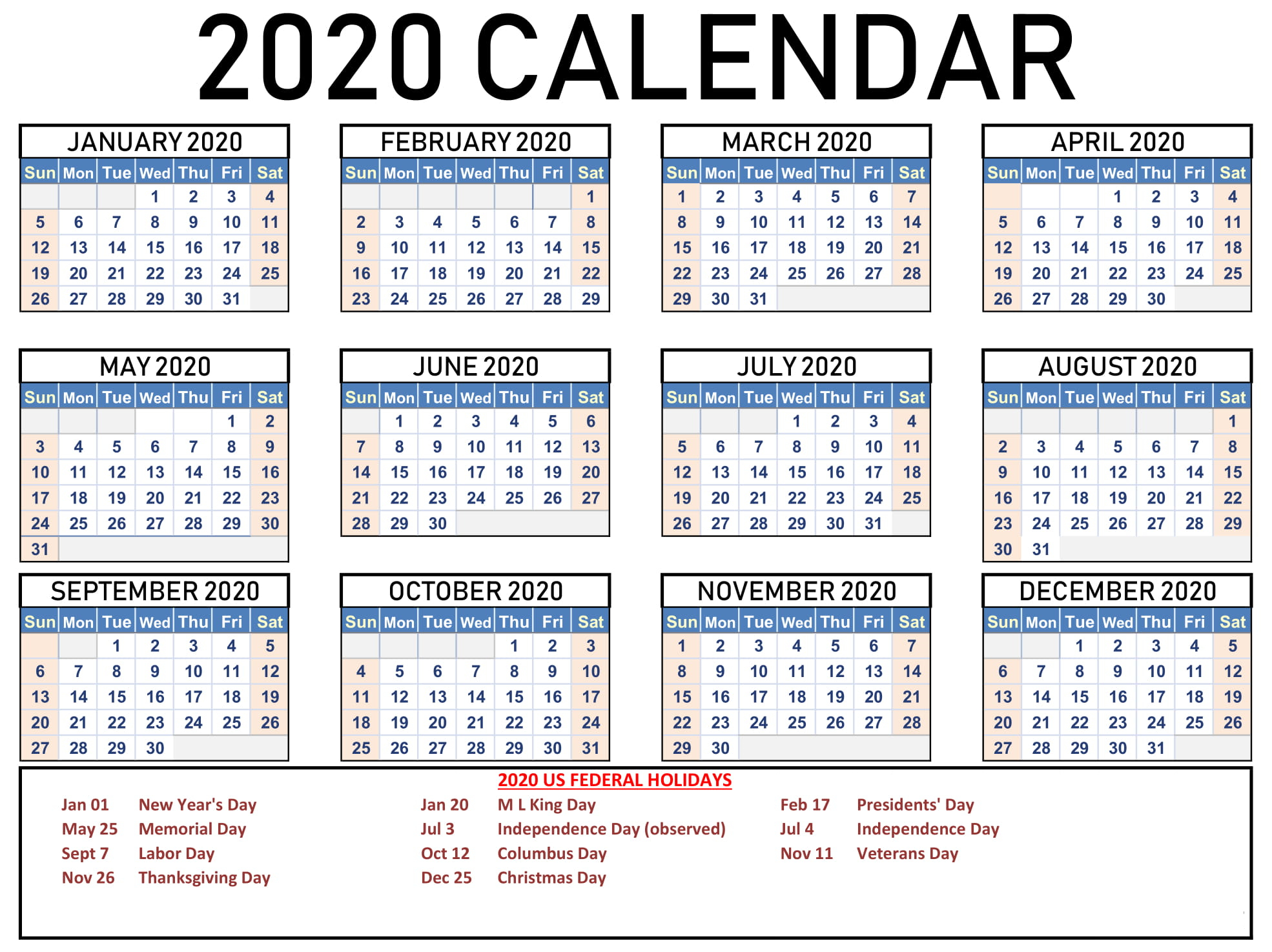 Free Printable Calendar 2020 With Holidays | 12 Month with 2020 Calendar With Holidays