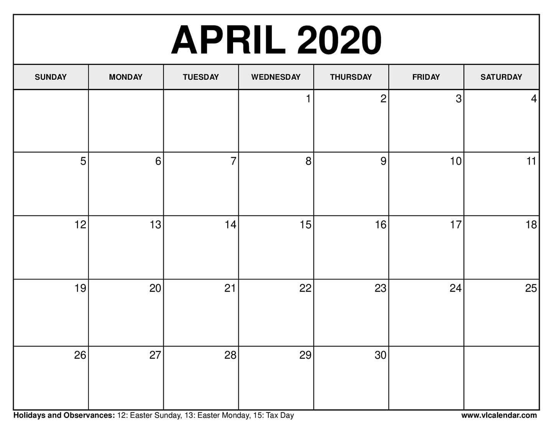 Free Printable Calendar For April 2020 pertaining to 2020 Printable Calendar Sunday To Saturday