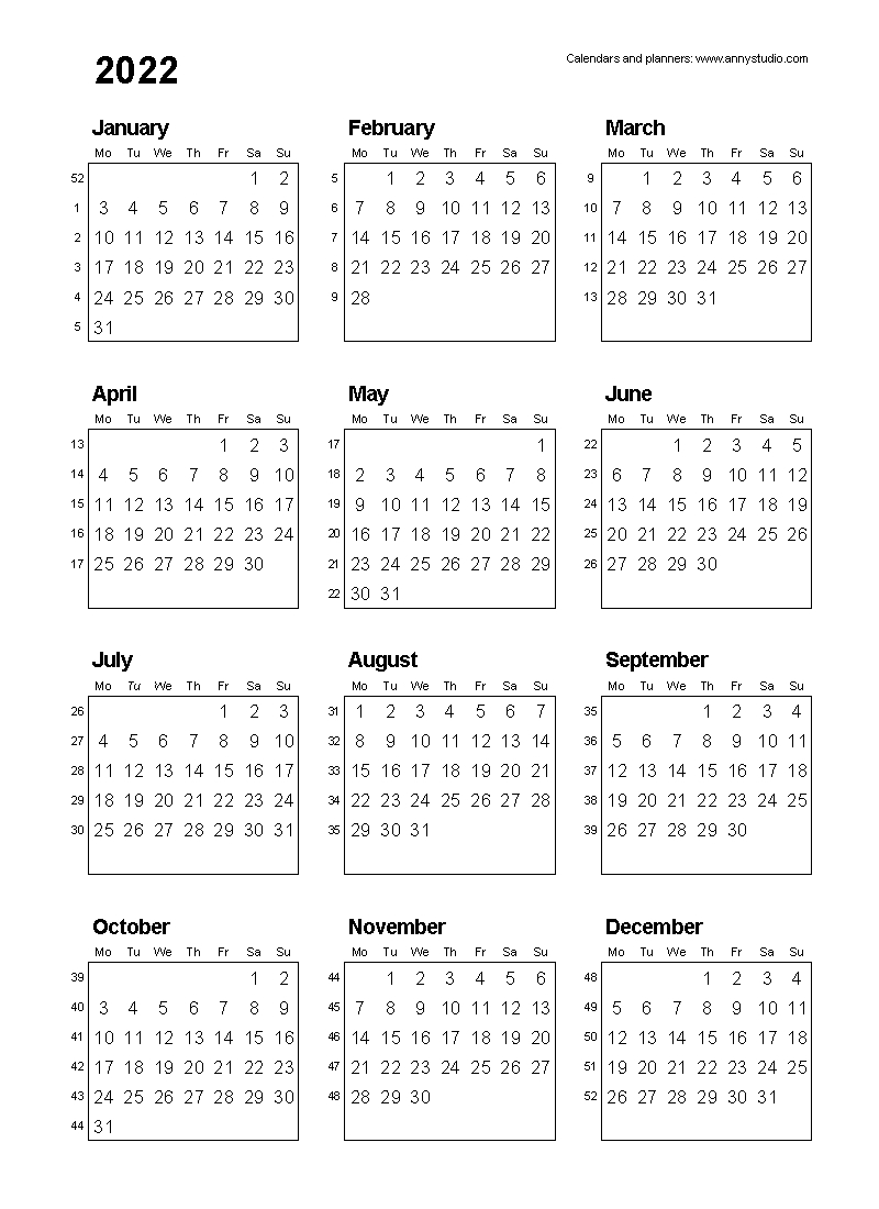 Free Printable Calendars And Planners 2020, 2021, 2022 in 2020 Monthly Calinder With Week Numbers