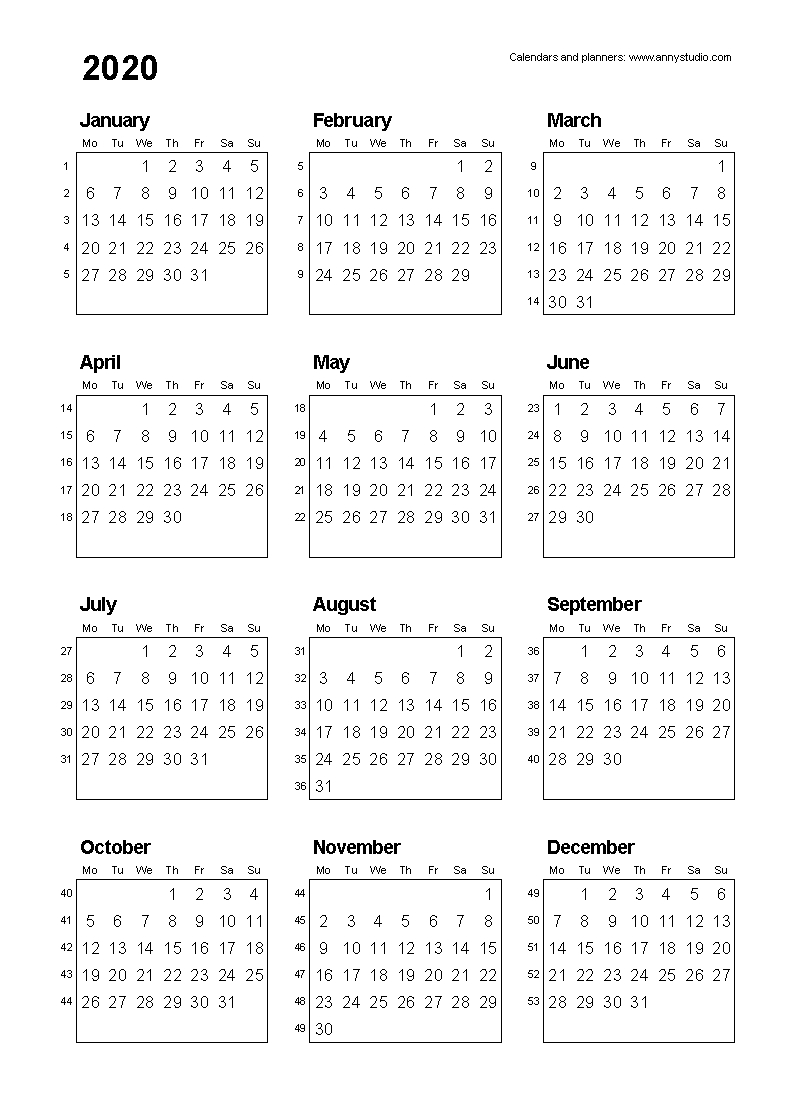 Free Printable Calendars And Planners 2020, 2021, 2022 intended for 2020 Monthly Calinder With Week Numbers