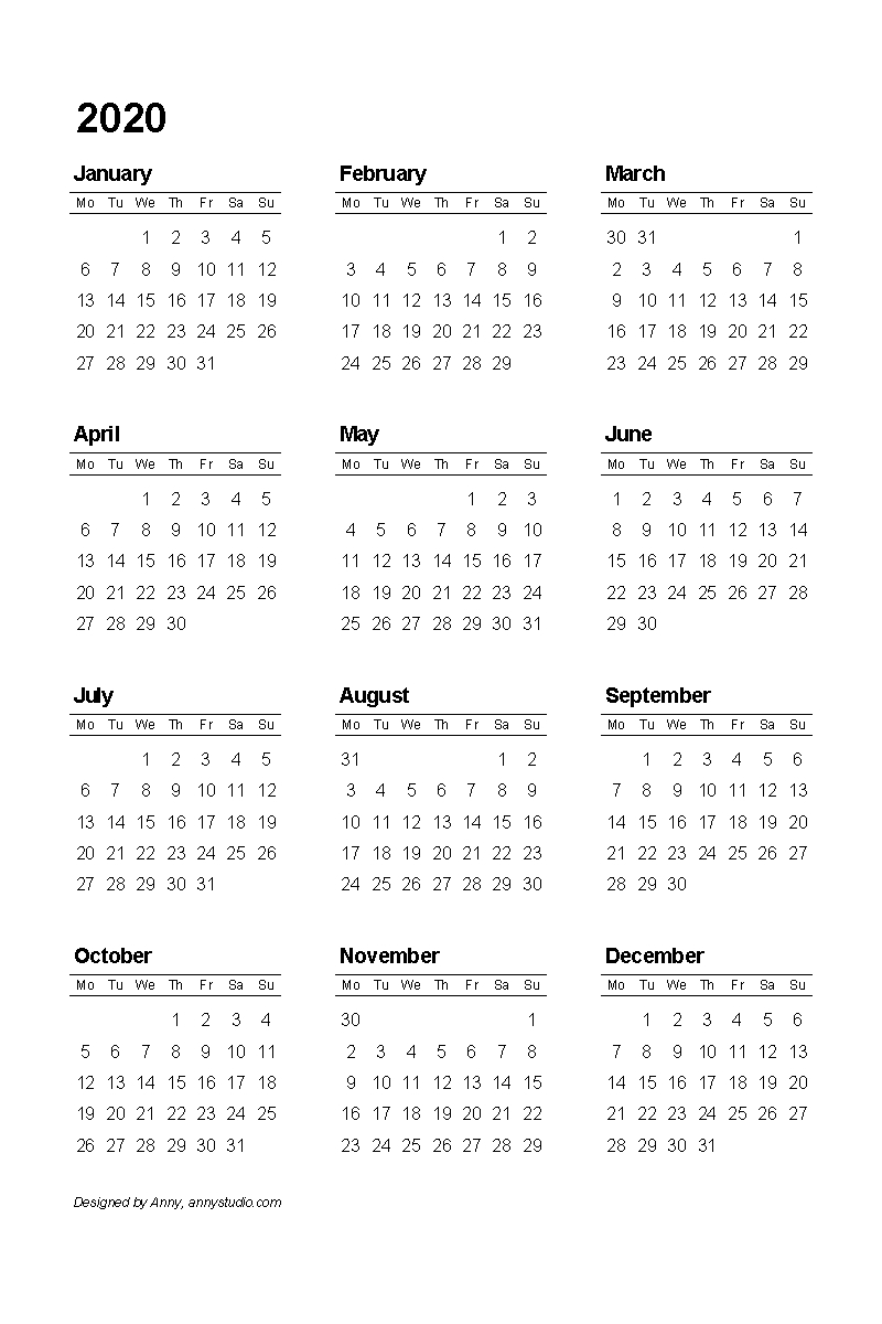 Free Printable Calendars And Planners 2020, 2021, 2022 with regard to Yearly Calendar Printable 2020 Start On Monday