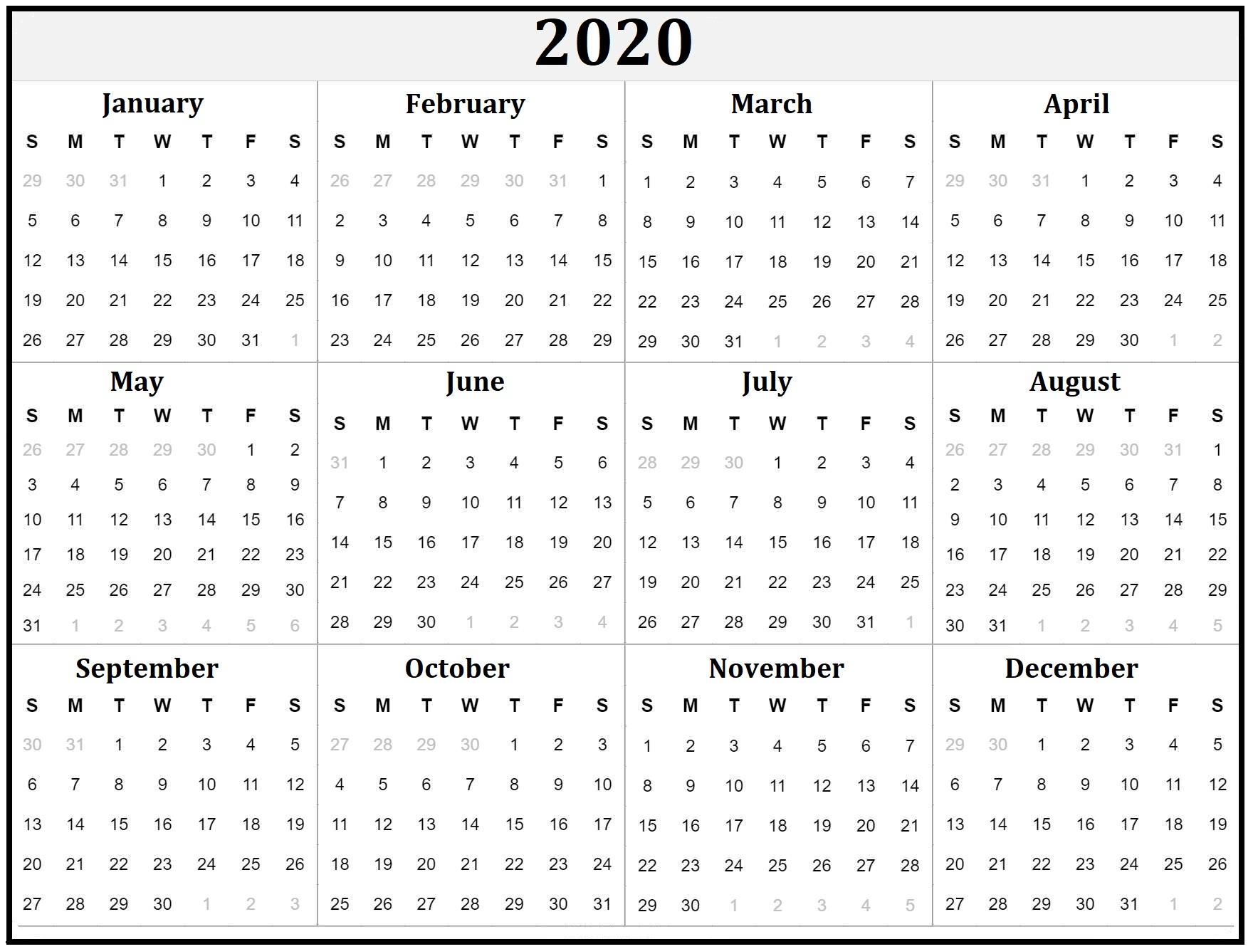Free Printable Calendars & Holidays - Calendar-Kart regarding Yearly Printable Calendar 2020