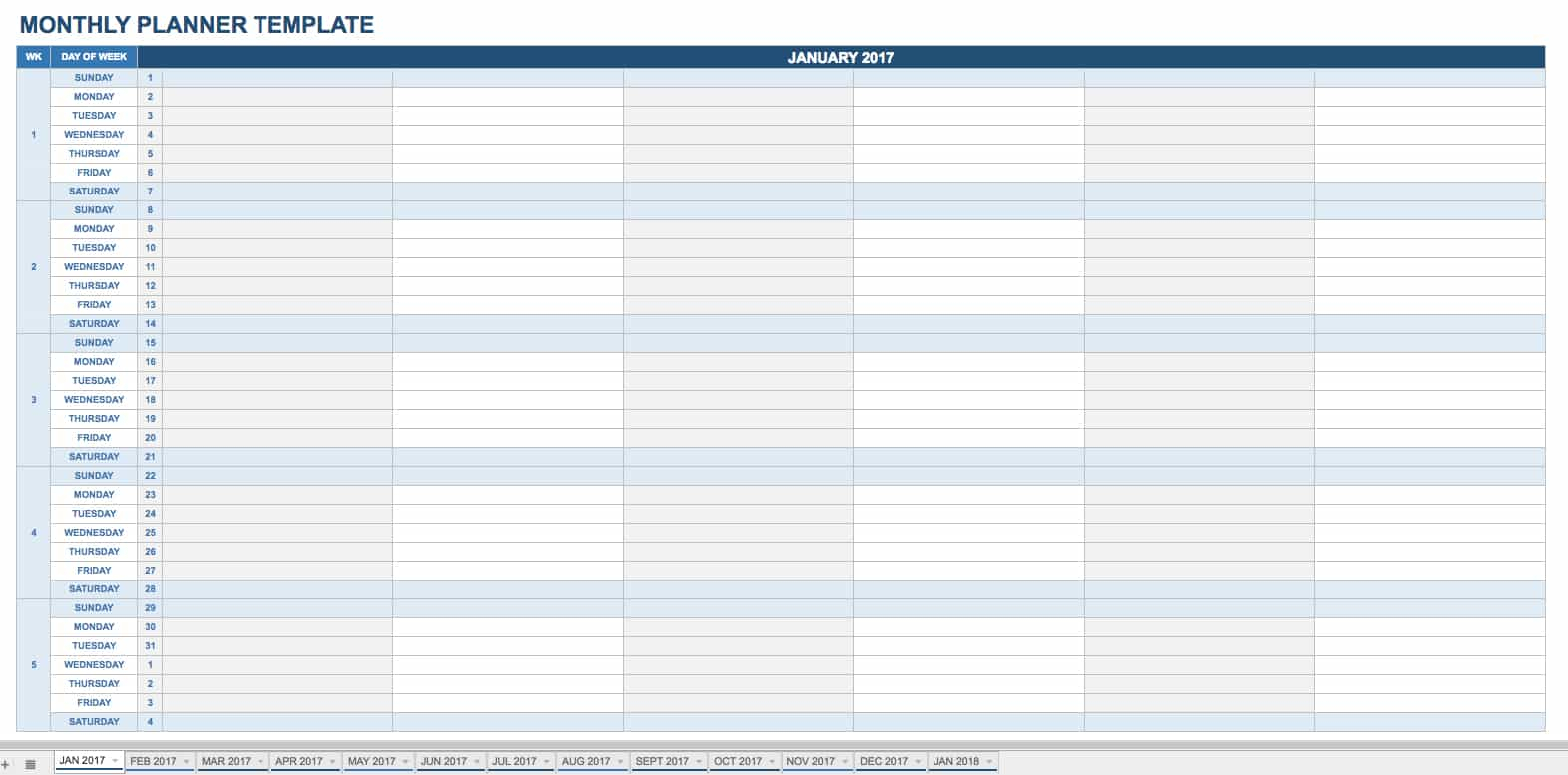 Free Printable Daily Calendar Templates | Smartsheet with Formatable Excel Monthly Calender 2020