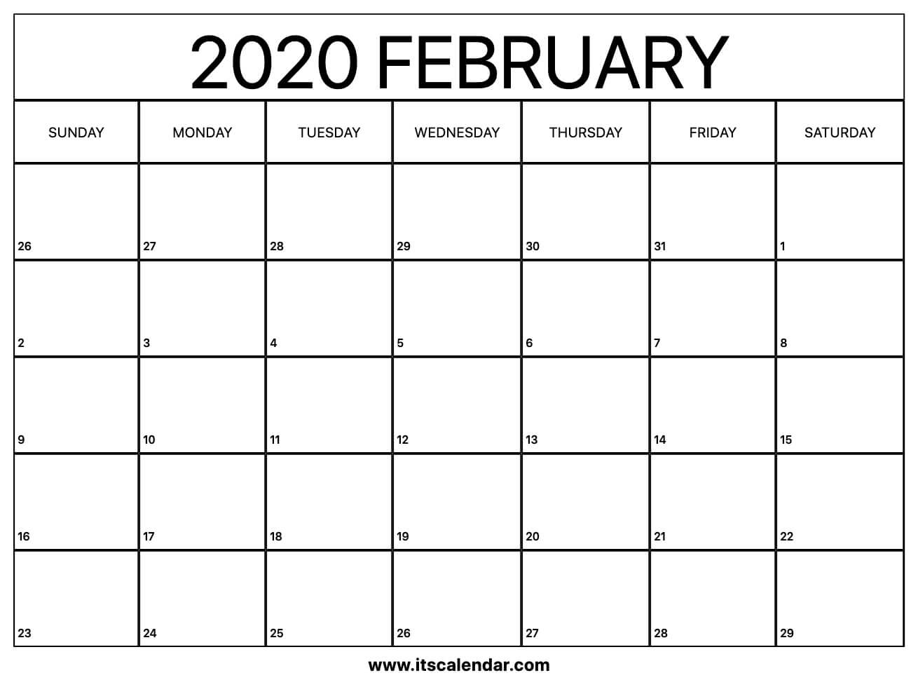 Free Printable February 2020 Calendar in Free Printable Nfl Schedule 2020 2020