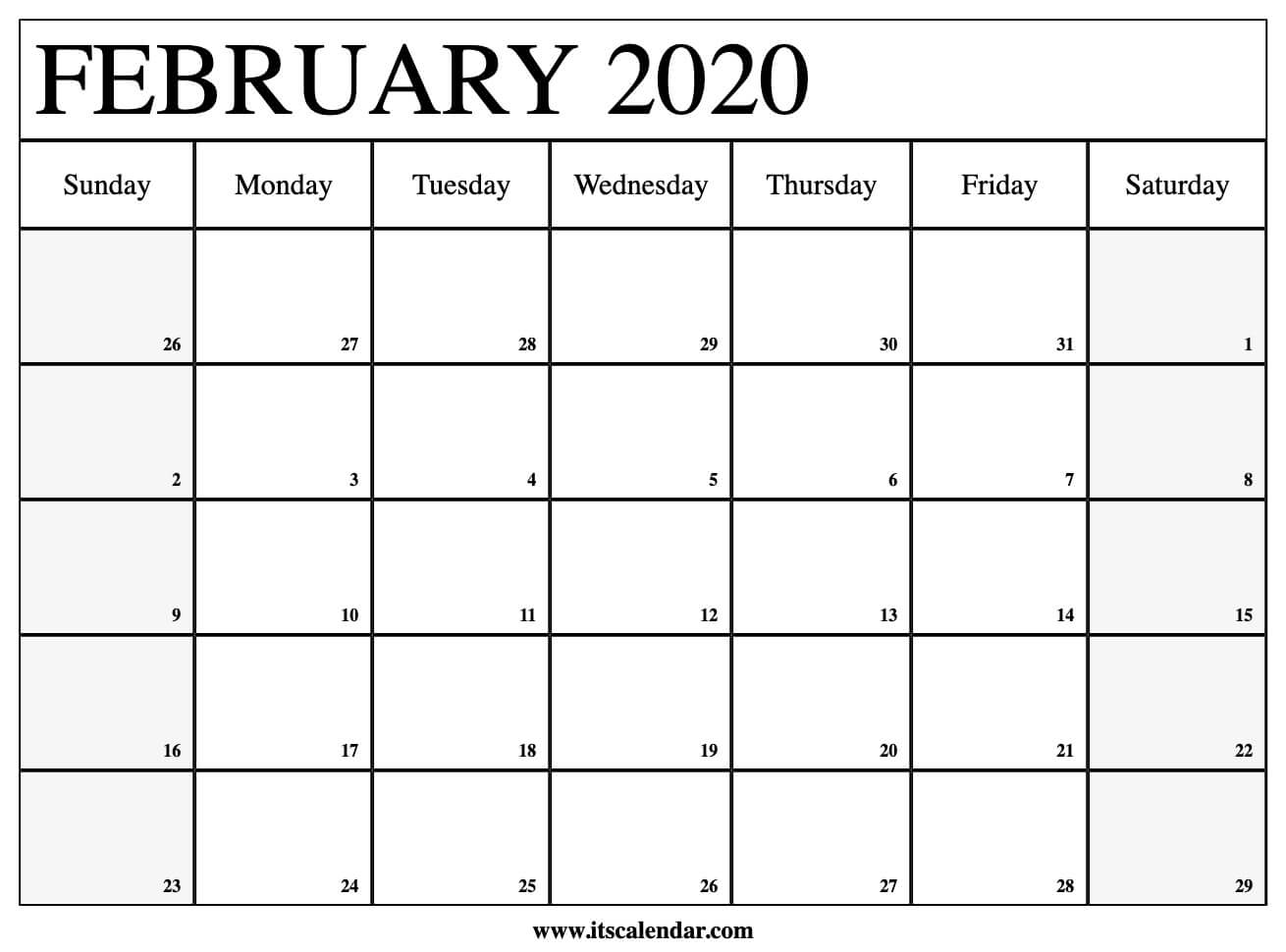 Free Printable February 2020 Calendar inside Free Printable Nfl Schedule 2020 2020