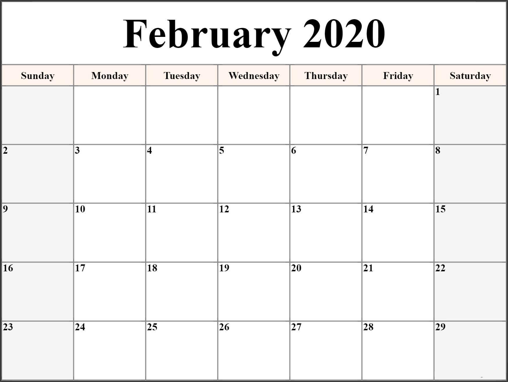 Free Printable February Calendar 2020 Pdf Sheet - Set Your pertaining to Free Printable 2020 Canadian Calendar