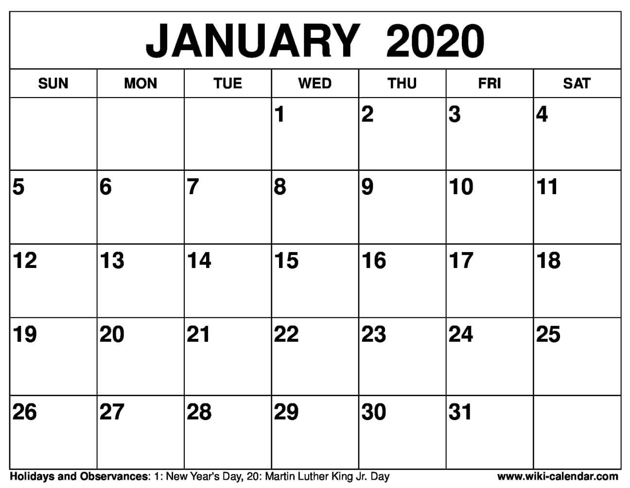 Free Printable January 2020 Calendar in January 2020 Calendar