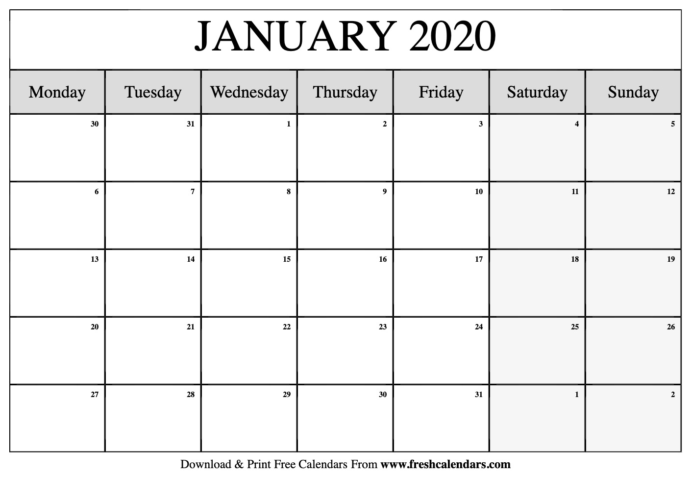 Free Printable January 2020 Calendar within Www.freshcalendars.com December 2020