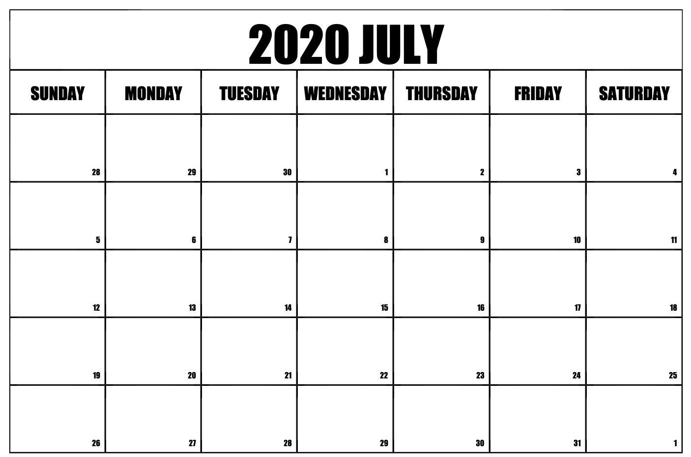 Free Printable July 2020 Calendar   Free Printable Calendar with regard to 2020 Printable Calendar Sunday To Saturday