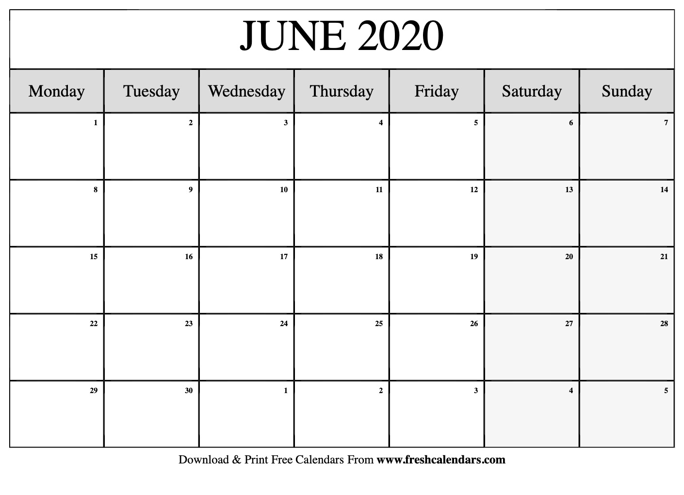 Free Printable June 2020 Calendar in 2020 Printable Calendars Beginning With Monday