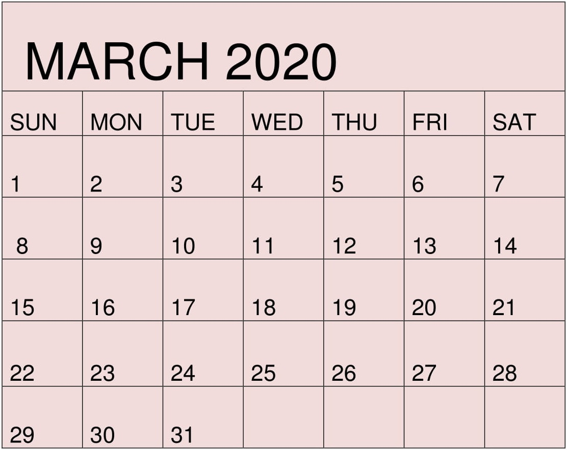 Free Printable March 2020 Calendarmonth Template – Free for 2020 Calendar Free Printable