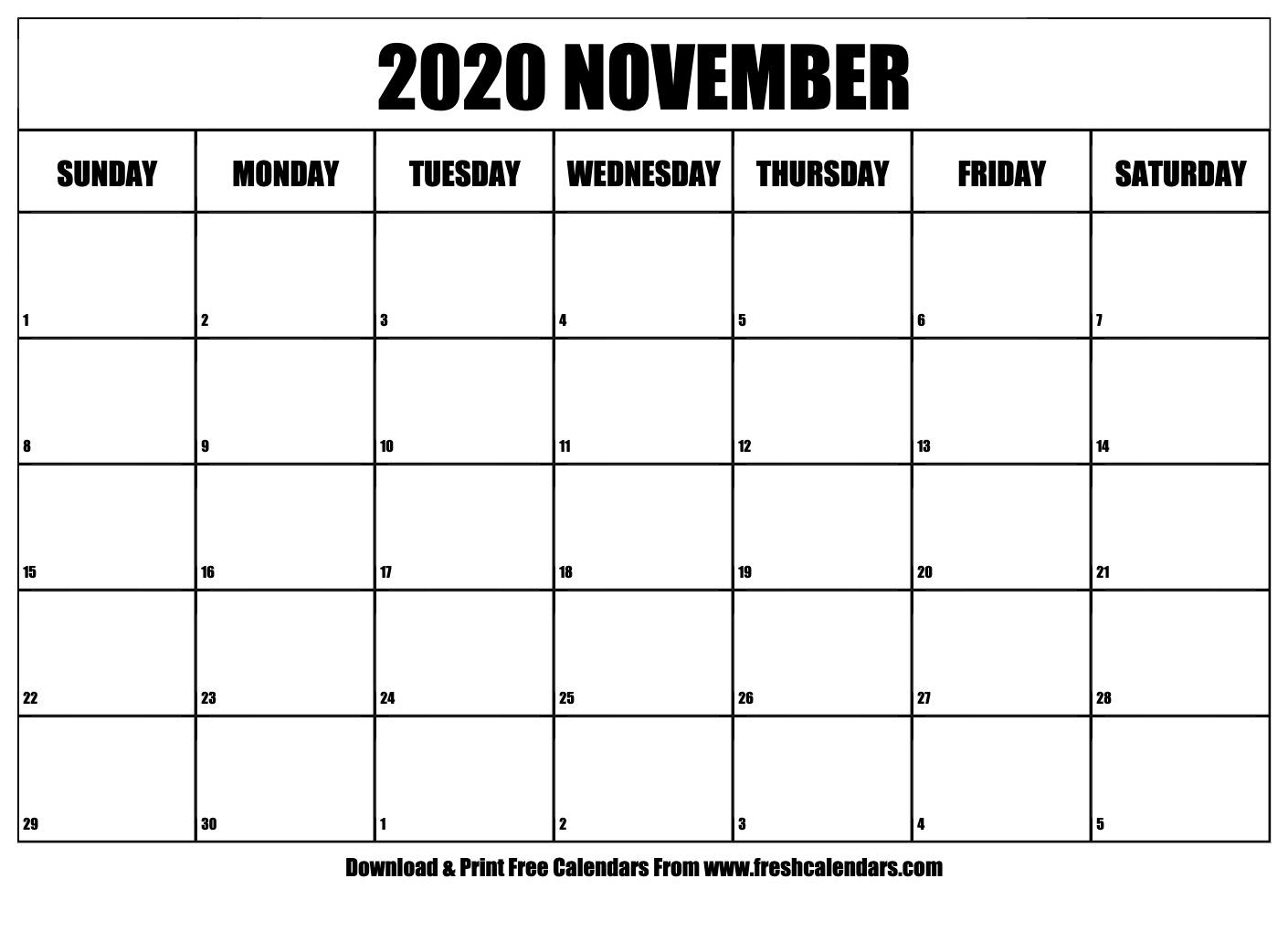 Free Printable November 2020 Calendar for Bring Up Calander For October And November 2020