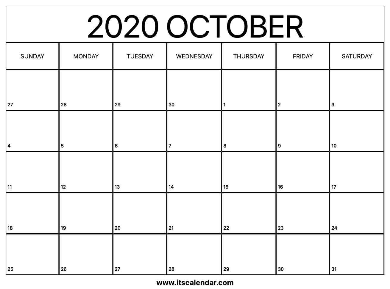 Free Printable October 2020 Calendar regarding Small Monthly Calendar Printable 2020 October